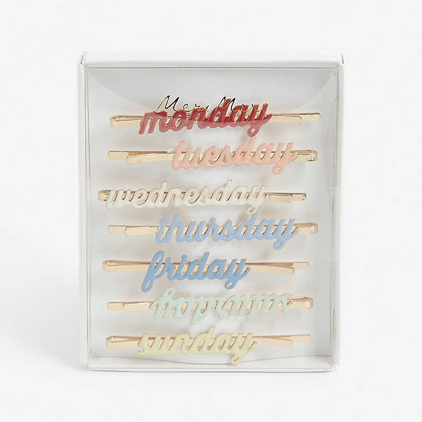 Enamel Week Day Hair Slides_ME5862