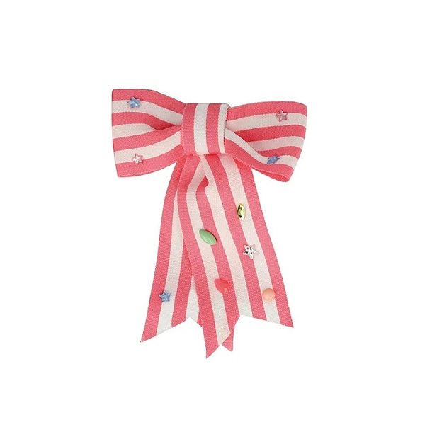 Pink Stripe Bow Hair Clip_ME7420