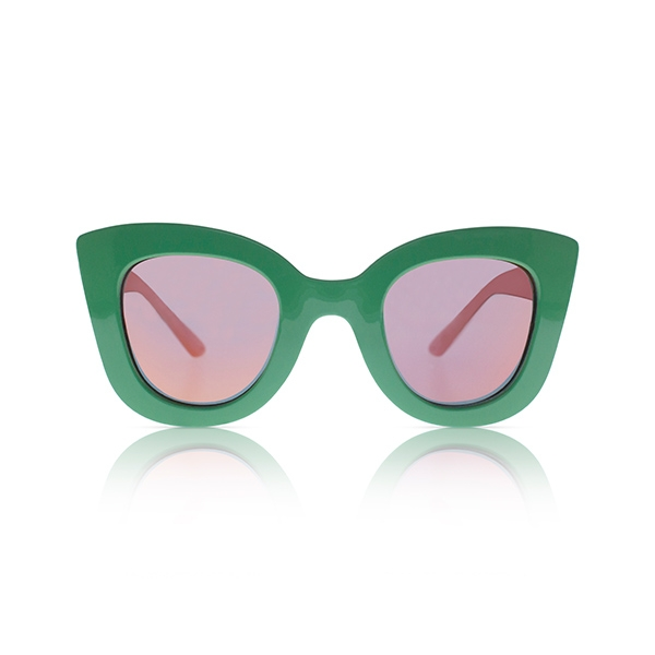 Cat Cat Sunglasses-Clover Green w/ Mirror_SDCCCG13T16