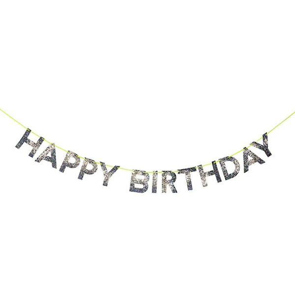 Silver happy birthday garland _ME156007