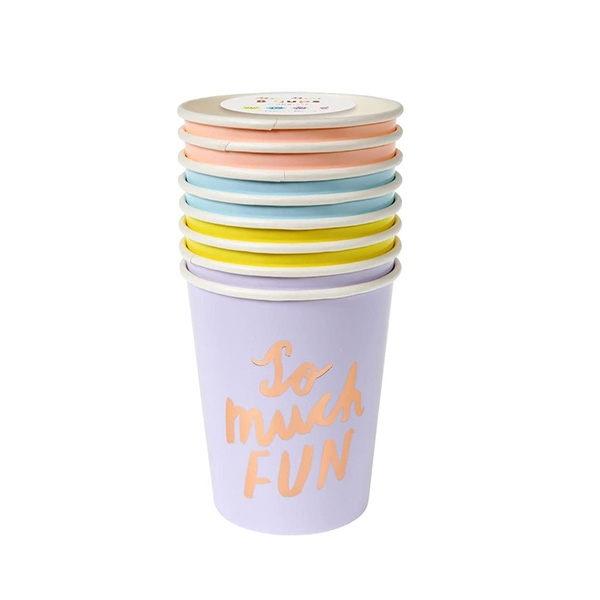 TYPOGRAPHIC PARTY CUPSPACK OF 8 IN 4 COLORS_ME2098RV