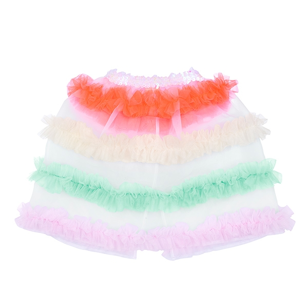 Neon Tulle Ruffle Capelet_ME201707