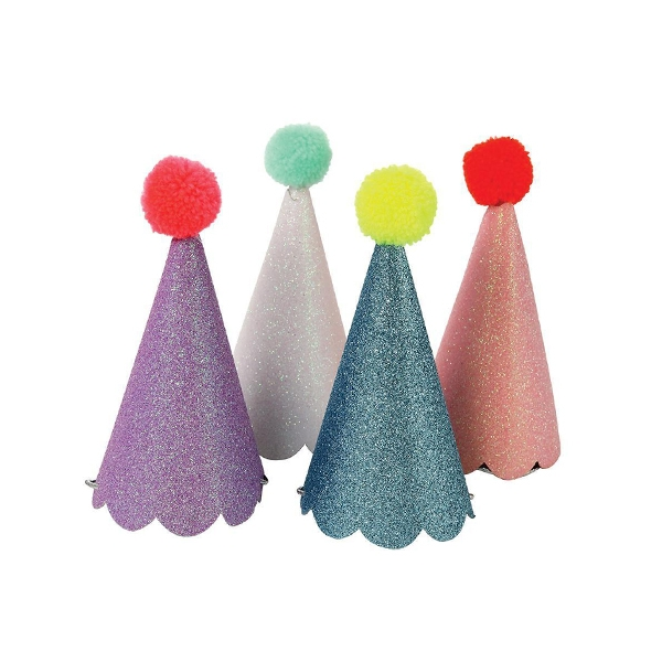 Glitter Party Hats With Pom Poms (8개 세트)_ME145981