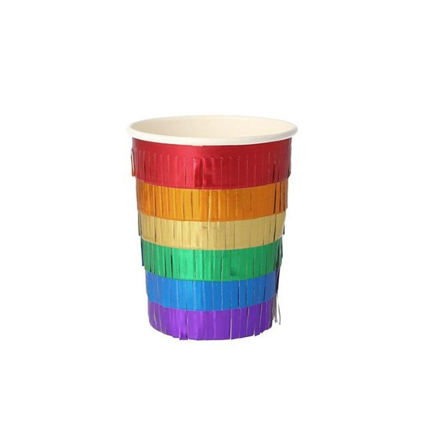 Rainbow Fringe Party Cups (8개 세트)_ME206182