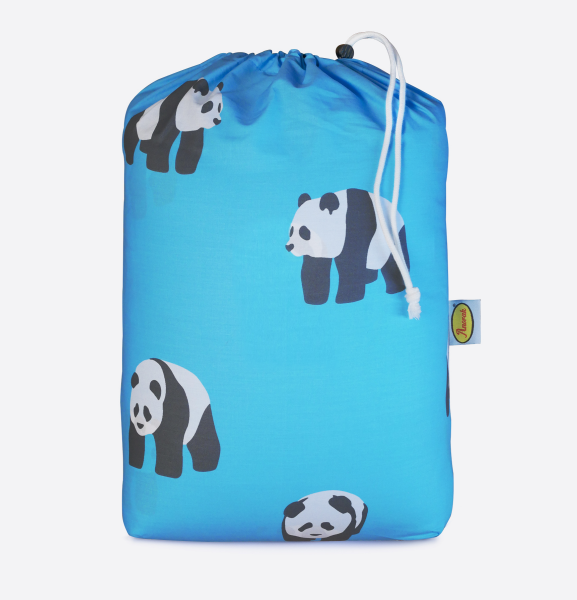 Anorak Pandas Organic Cotton Sleeping Bag (Aqua Blue)
