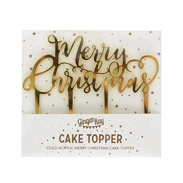 Gold Merry Christmas Cake Topper_MS201GGP