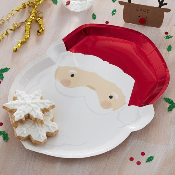 Red Foiled Santa Christmas Paper Plates(8개 세트)_SAN319GG