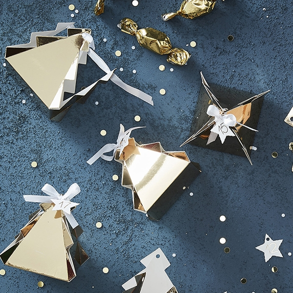 Gold Christmas Tree Shaped Advent Boxes(24개 세트)_GD407GGP